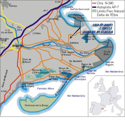 Mapa De Tarragona Pueblos.Casa De Pages L Oncle Joan De Petenera Del Delta Del Ebro